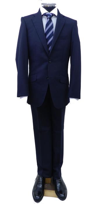 レンタルメンズスーツ 紺地織柄ストライプ